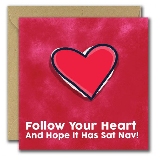 greeting card with heart on red background and text follow your heart