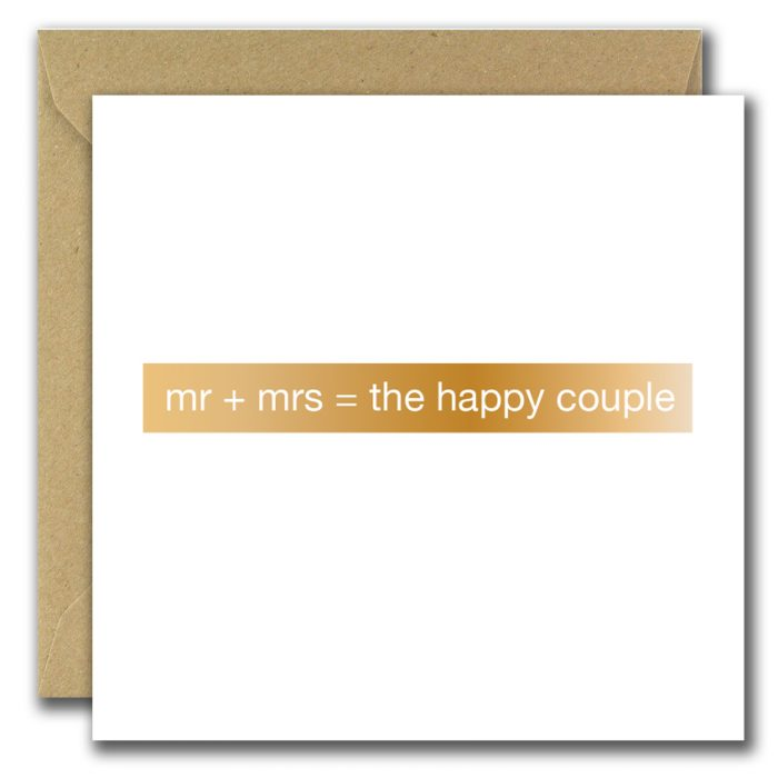 wedding greeting card with text mister and misses the happy couple