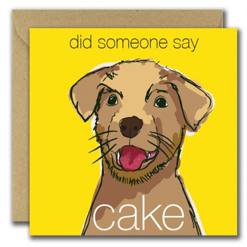 birthday card with dog looking for cake