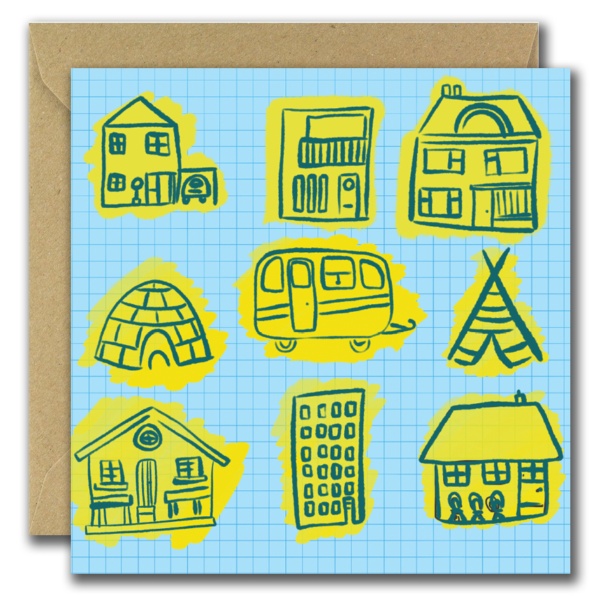 congratulation on new home greeting card with different types of homes