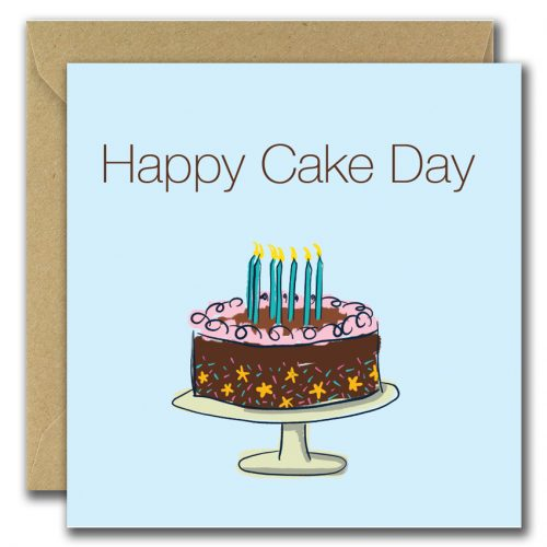 birthdat greeting card with cake image and text happy cake day
