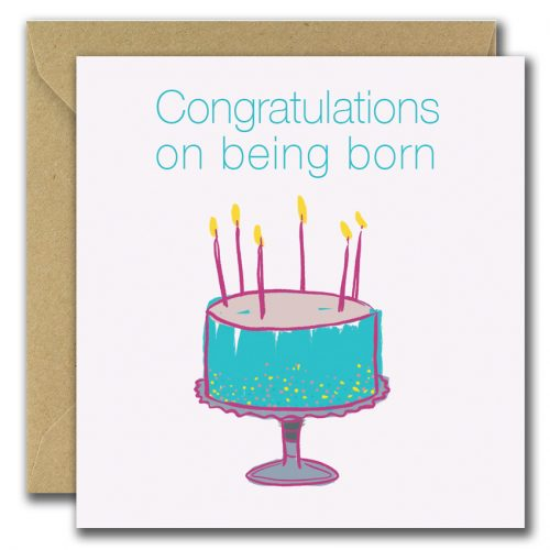 congratulation on new baby greeting card with cake image