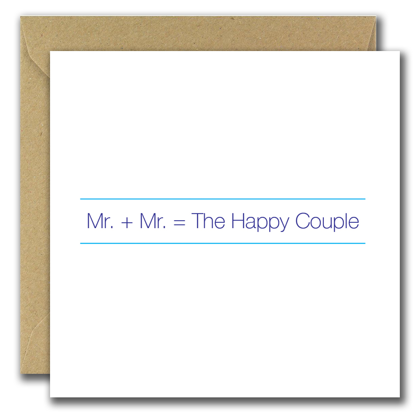 wedding greeting card with text mister and mister the happy couple