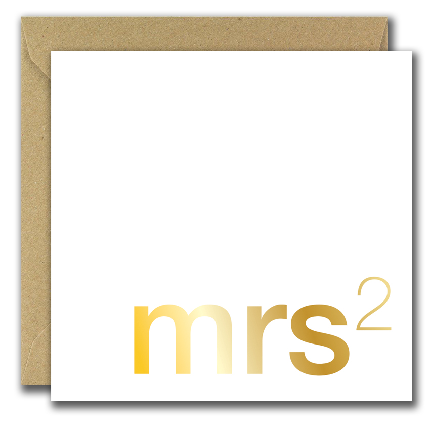 wedding greeting card with text misses two