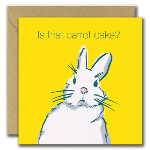 birthday card with rabbit looking for carrot cake