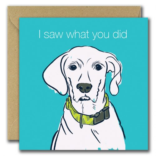 thinking of you greeting card with dog on blue background