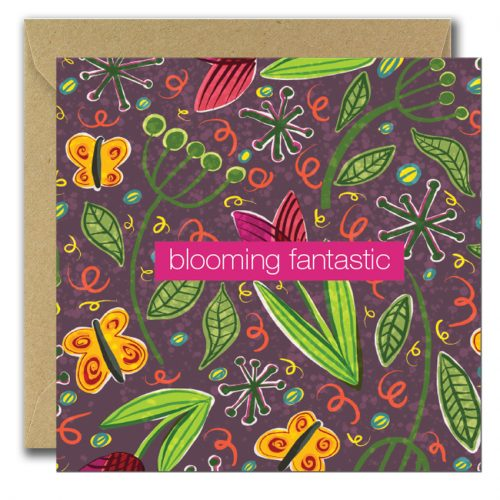 greeting cards with variety of flowers and text blooming fantastic