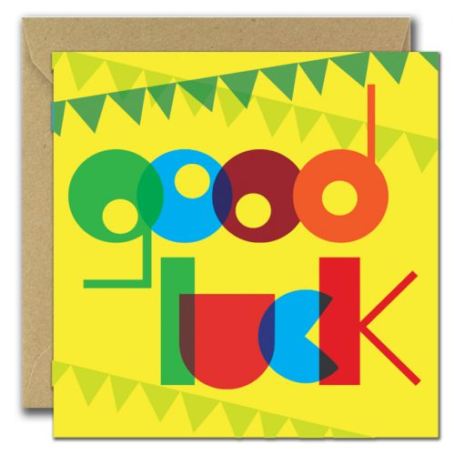 greeting card with large text good luck
