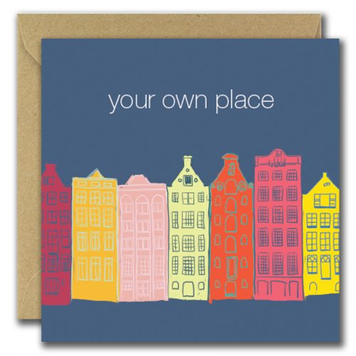 new home greeting card with buildings on blue background