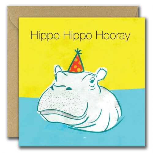 gretting card with drawing of hippopotamus and text hippo hippo hooray