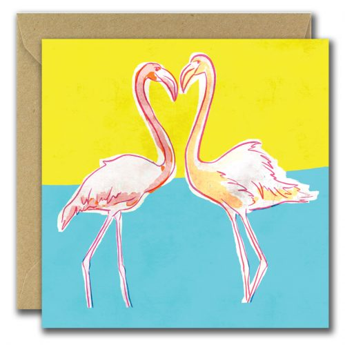 greeting card with flamingos and heart on yellow and blue background