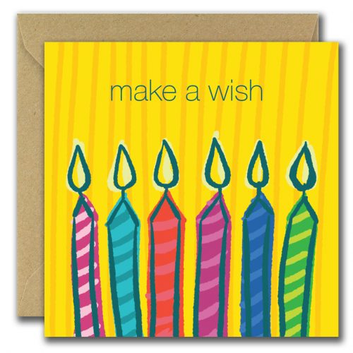 make a wish greeting card with illustration of candles