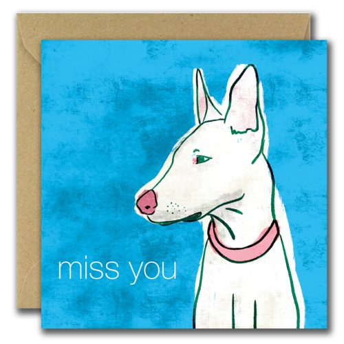 miss you greeting card with image of dog on blue background