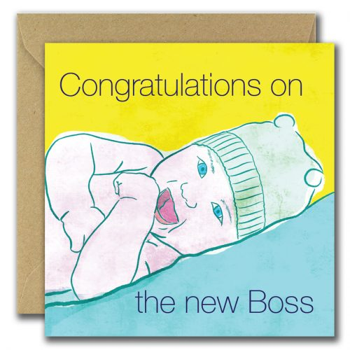 new baby greeting card with baby image and text congratulations on the new boss