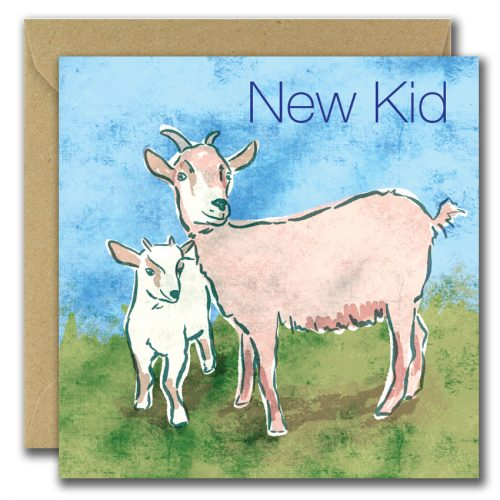 new baby greeting card with goats and text saying new kid.