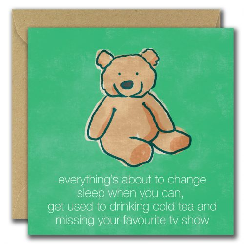 new parents greeting card with teddy bear on green background