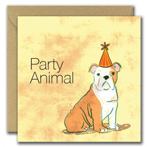greeting card with image of dog wearing hat with text party animal