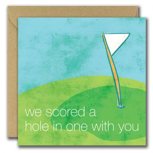 fathers day greeting card with gold flag and text we scored a hole in one with you