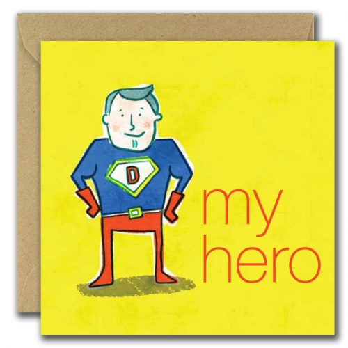 fathers day greeting card with superdad image and text my hero