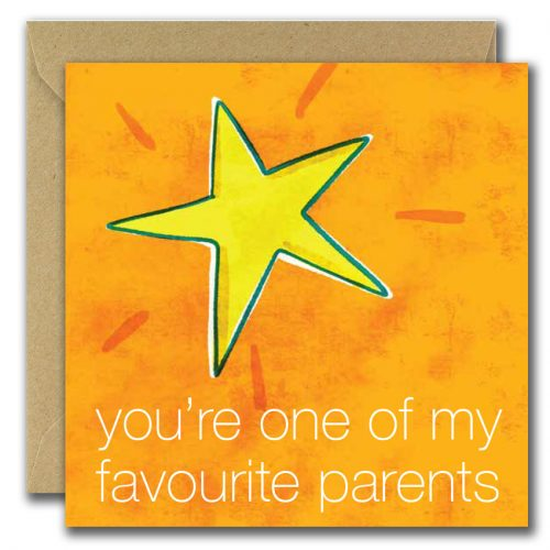 fathers day greeting card with star on orange background and text you're one of my favourite parents