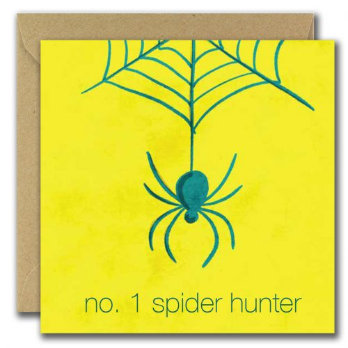 fathers day greeting card with spider hanging from web and text number one spider hunter