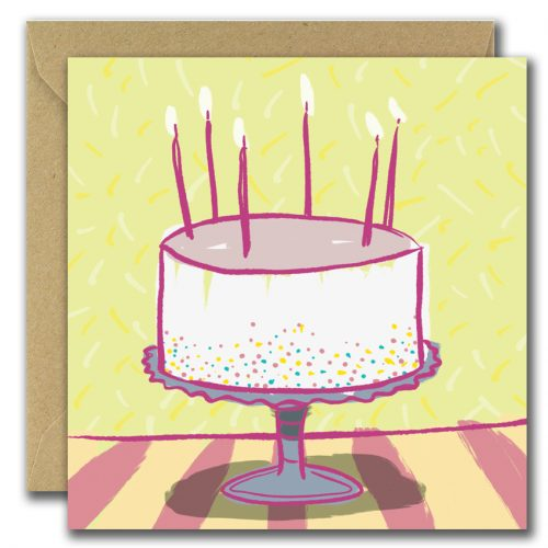 Birthday greeting card with image of cake and candles on yellow background