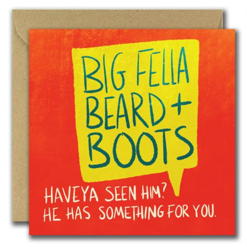 Big Fella Beard & Boots Text Greeting card