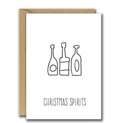 Foiled Christmas Card Christmas Sprit and bottle illustration