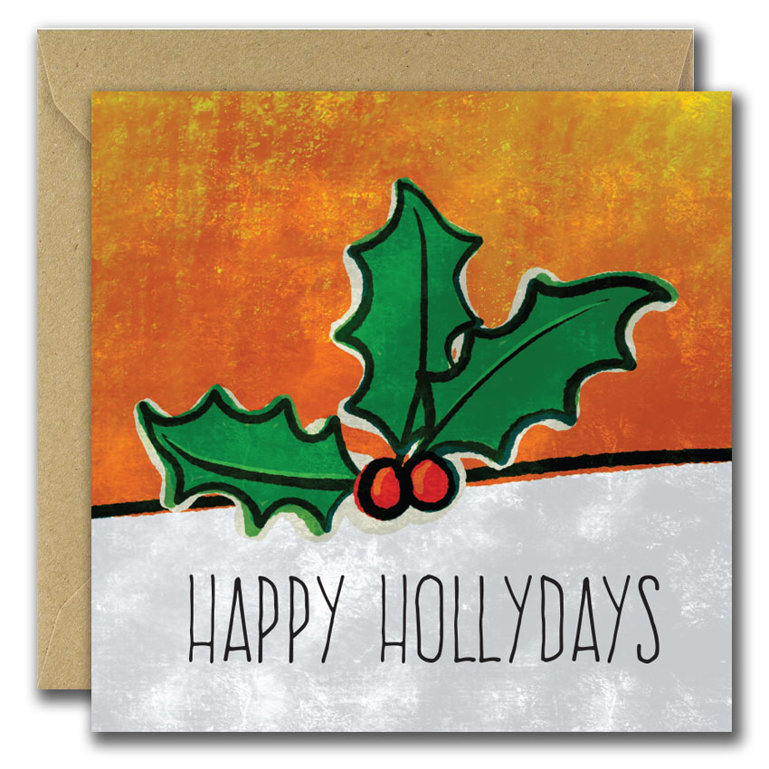 holly and berries, happy hollydays greeting card