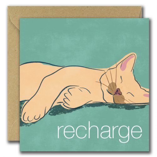 Recharge Cat Get Well Soon Card