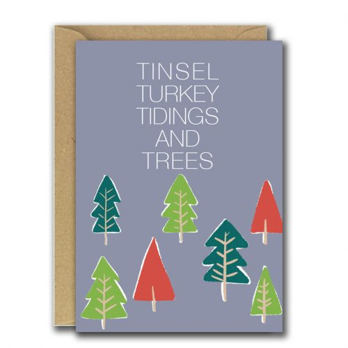 Grey Christmas card with trees