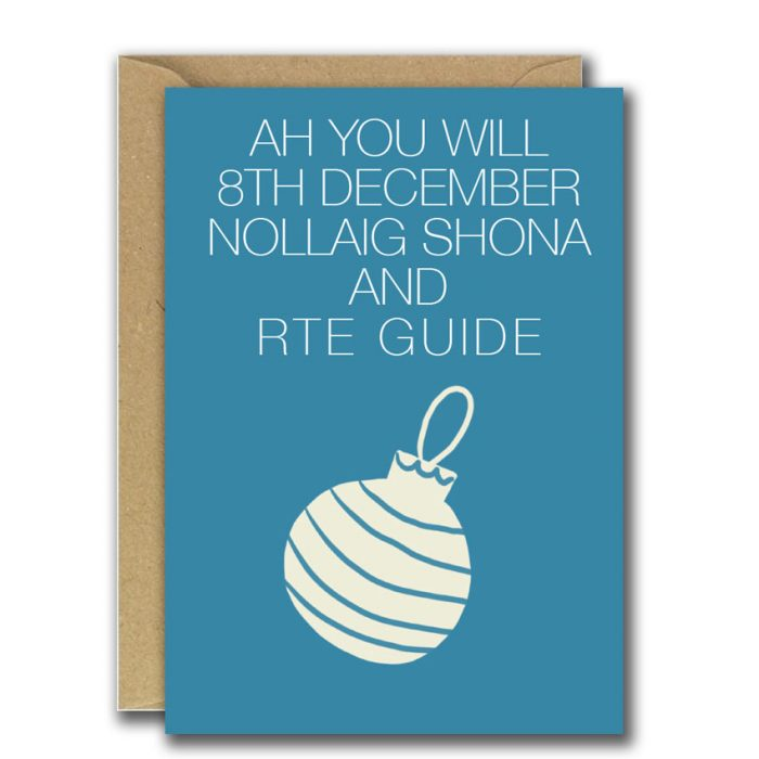 Blue Christmas card with bauble illustration and rhyme