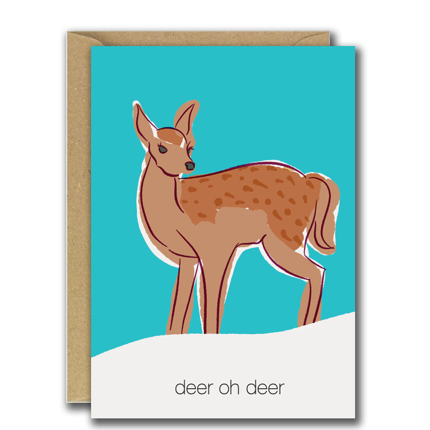Deer oh deer christmas card with illustration of a deer on front