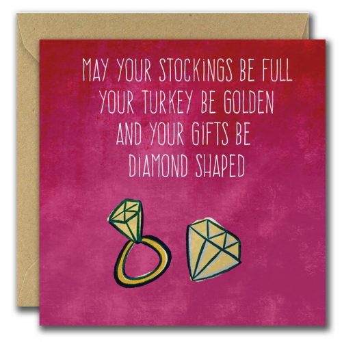 Pink Background with text and illustration of diamond. Christmas card