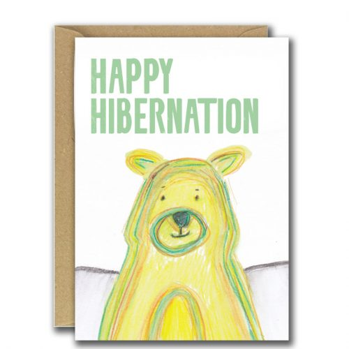 Big yellow bear, happy hibernation christmas card