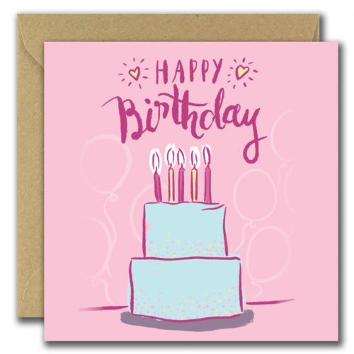 Happy Birthday Youre Great Card Cake on pink background