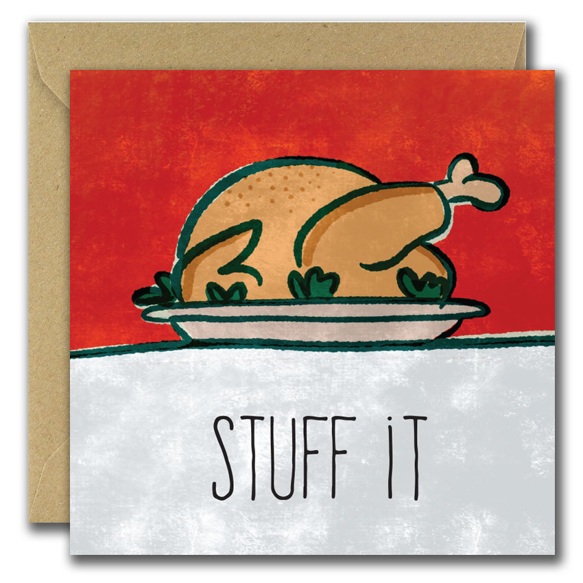 Stuff it. Cooked Turkey on red background Christmas Card