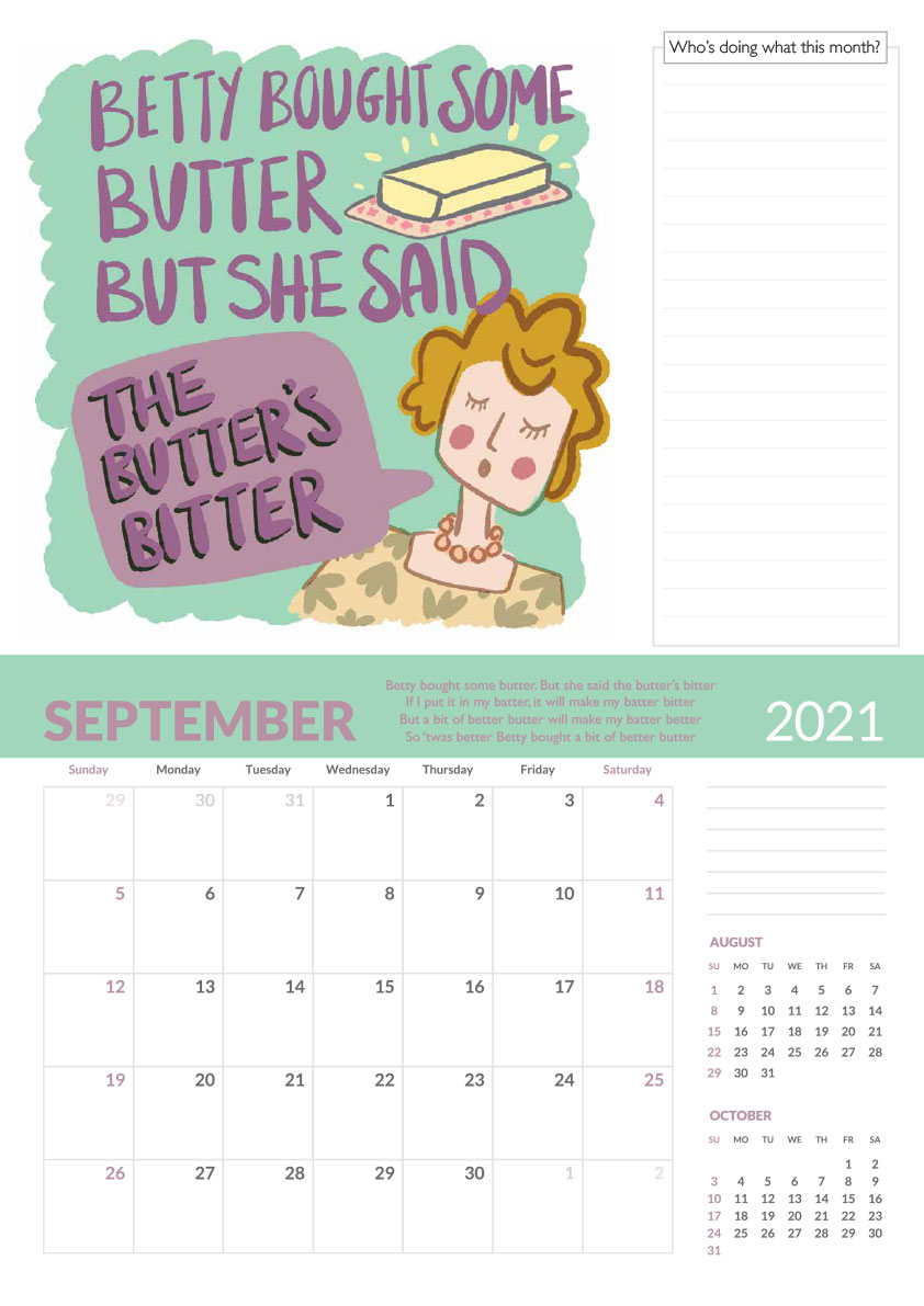 Betty bought butter tongue twister calendar page