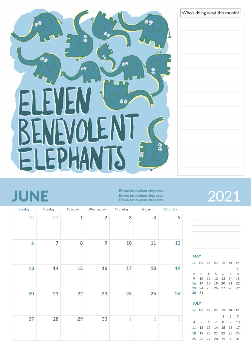 11 benevolent elephants tongue twister calendar page