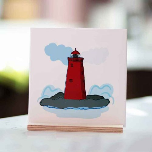 poolbeg lighthouse illustrationon a tile