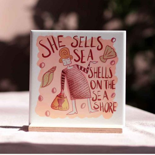 she sells sea shells illustration peach on tile
