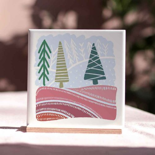Christmas tree illustrated tile