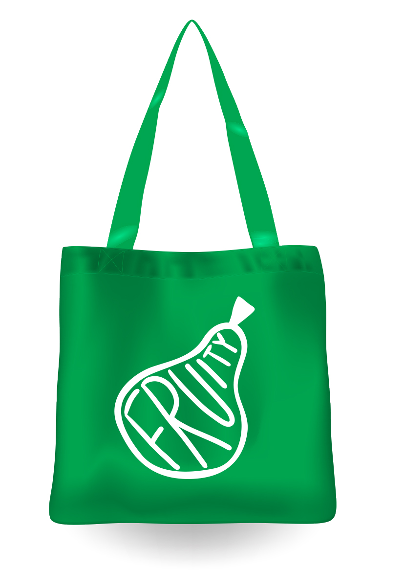 Tote bag with word fruity