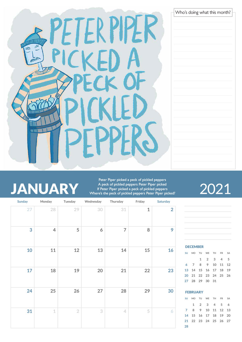 Peter piper tongue twister calendar page
