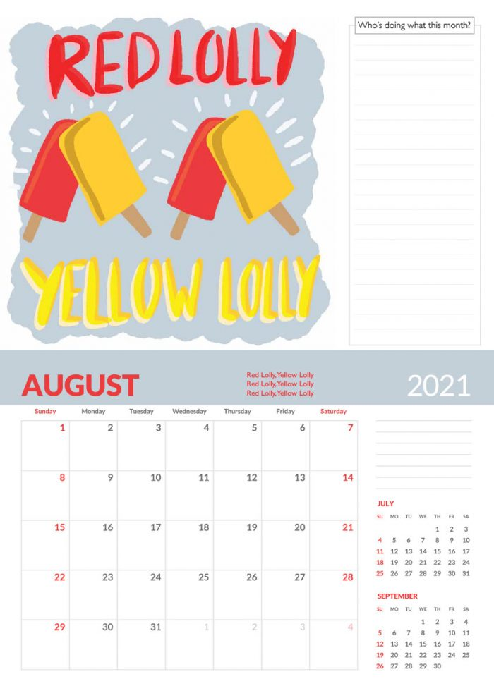 Red lolly yellow lolly tongue twister calendar page