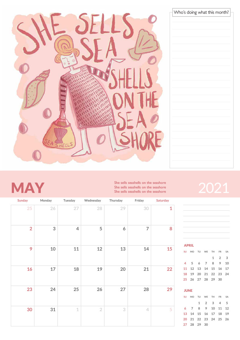 She sells sea shell tongue twister calendar page