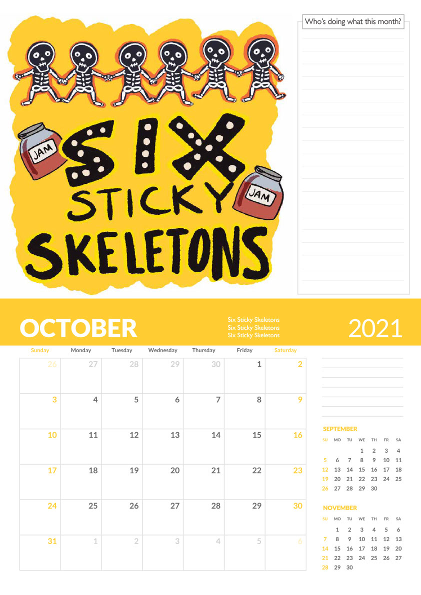 six sticky skeletons tongue twister calendar page