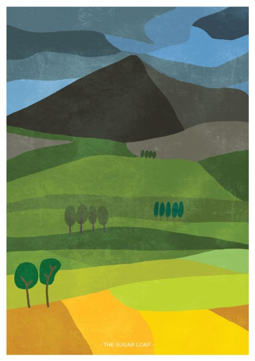 Art print showing the sugar loaf