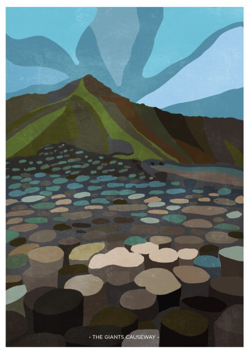 Art Print showing view of The Giants Causeway
