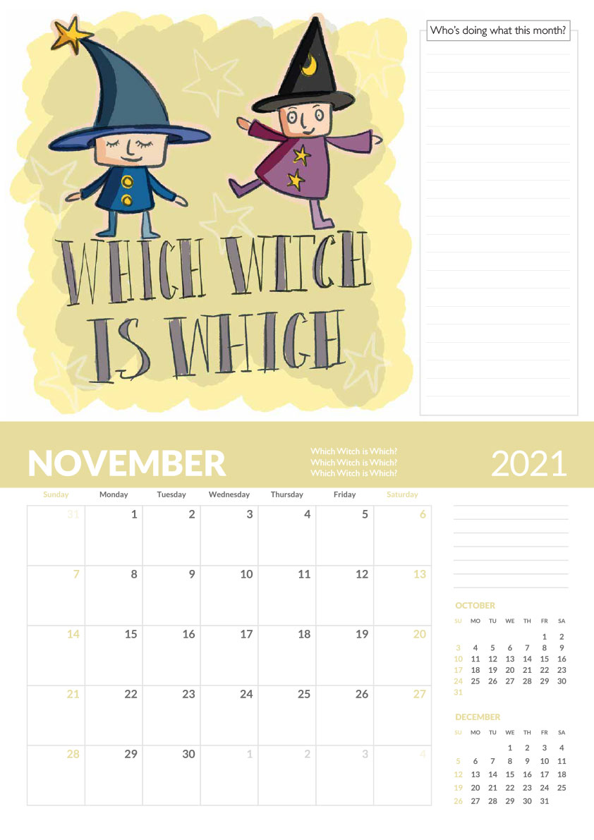 Which witch calendar page tongue twisters